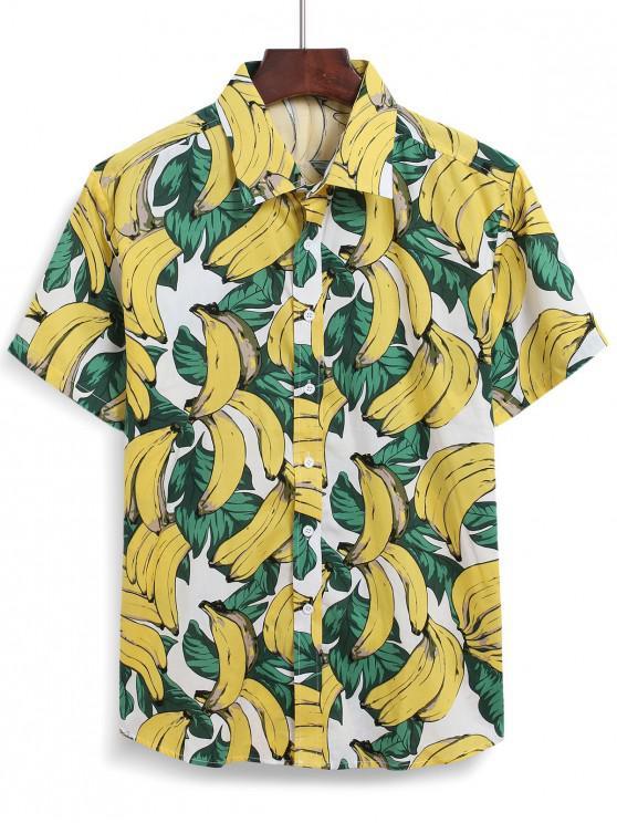 Camisa Plátano de Playa con Botones con Estampado de Plátano - Multicolor S