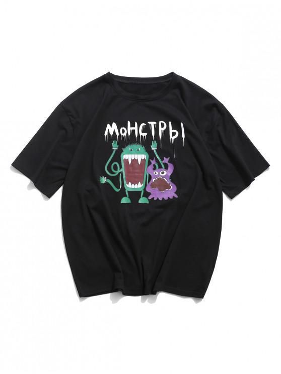 T-Shirt Grafica con Stampa Animali di Cartone - Nero M