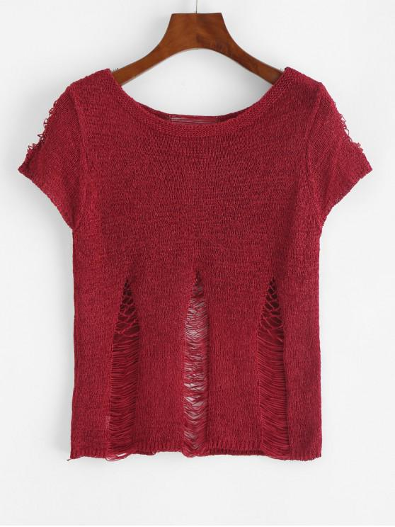 women's Ripped Knit Top - RED XL