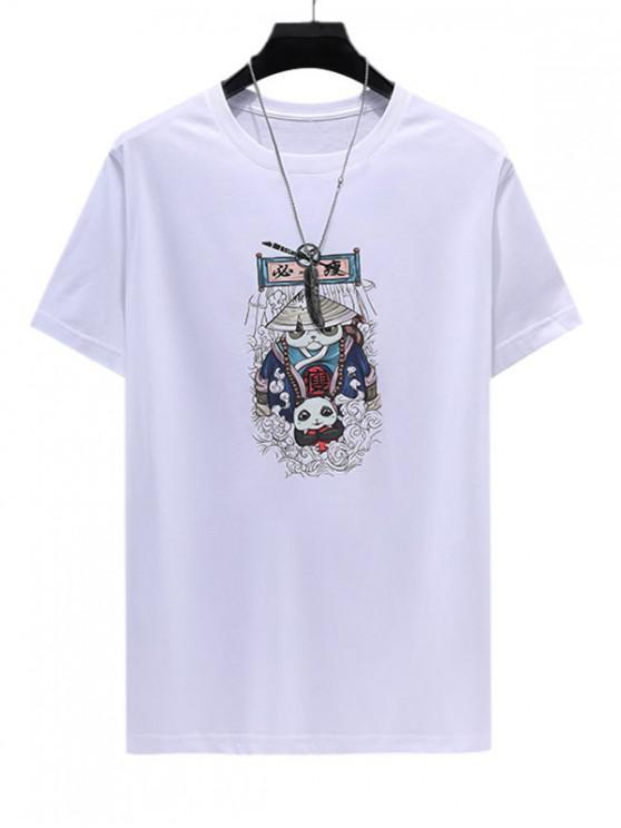 Chinese Cartoon Printed Short Sleeves T-shirt - أبيض 4XL