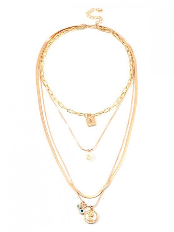 Collar de Cadena de Múltiples Capas de Perlas de Imitación de Cerradura - Oro