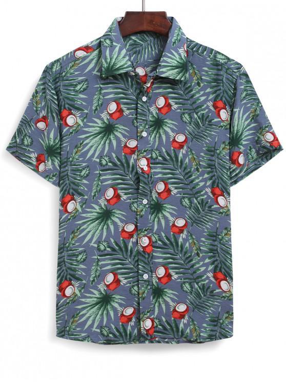 latest Hawaiian Coconut Leaf Printed Shirt - MULTI 2XL