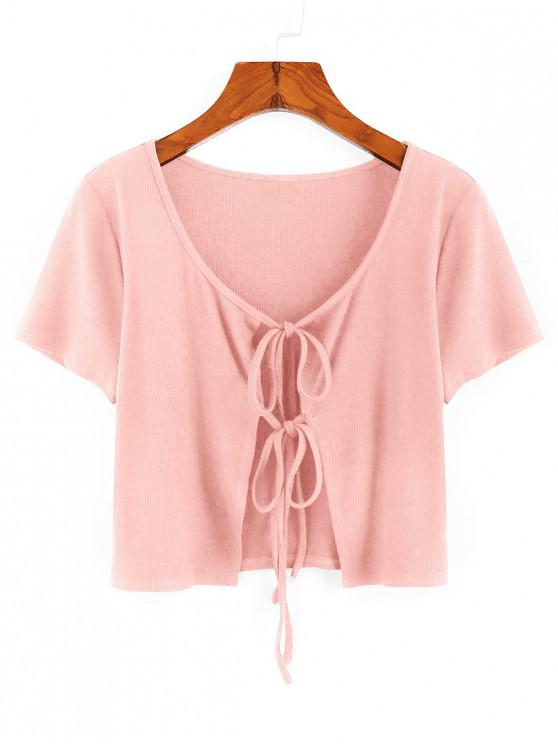 shops ZAFUL Ribbed Tie Front Crop T-shirt - ROSE S