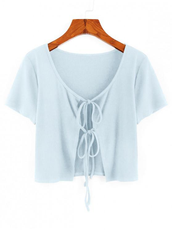 outfit ZAFUL Ribbed Tie Front Crop T-shirt - LIGHT BLUE S