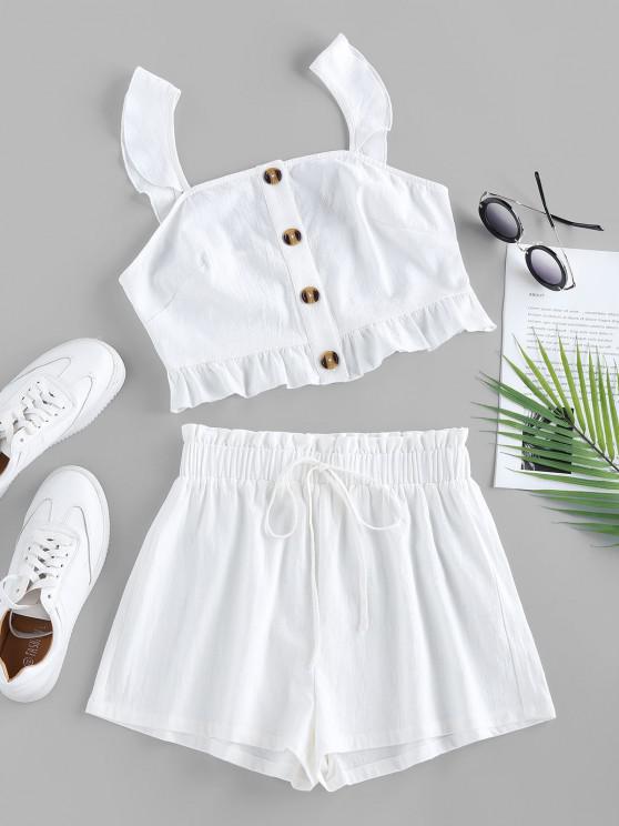 women ZAFUL Button Up Ruffle High Waisted Shorts Set - WHITE S