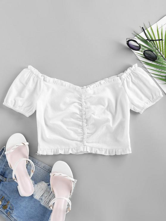 latest ZAFUL Mock Button Ruffle Crop Blouse - WHITE L