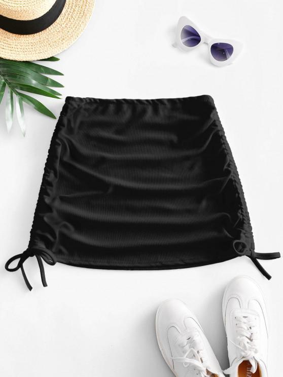 Ribbed Cinched Side Mini Skirt - أسود حجم واحد