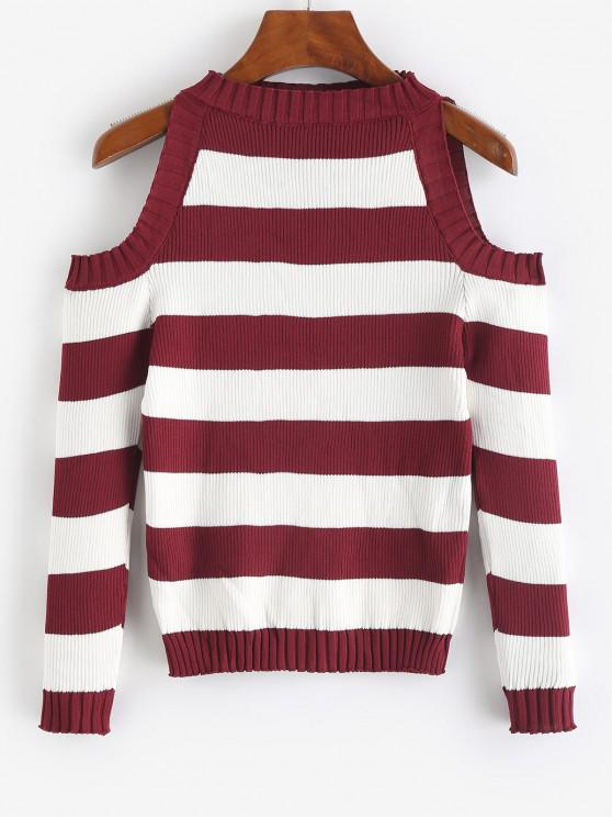 online Striped Cold Shoulder Knitwear - RED WINE ONE SIZE
