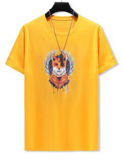 Ethnic Animal Print Cotton T-shirt - Bright Yellow 3xl