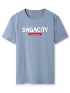 Sagacity Print Basic T-shirt - Blue Gray Xl
