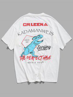T-Shirt Casuale Grafica Di Coniglio - Bianca 4xl