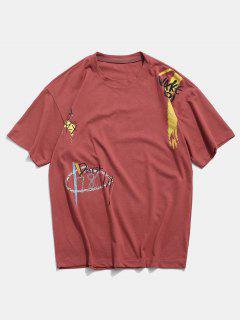 Animal Graffiti Graphic Basic T Shirt - Cherry Red 2xl
