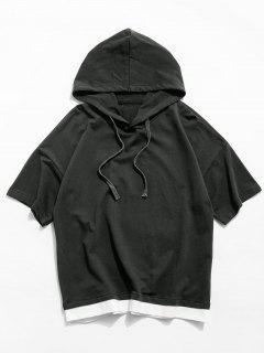Colorblock Spliced Short Sleeve Hooded T-shirt - Battleship Gray L