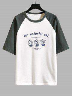 Cat Graphic Print Colorblock T-shirt - Gray 2xl
