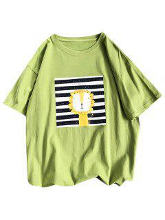 Cartoon Lion Striped Basic T Shirt - Green 3xl