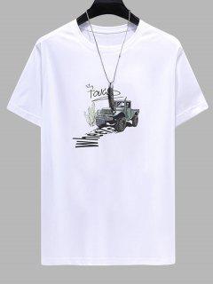 T-shirt Décontracté Lettre Imprimée - Blanc 2xl