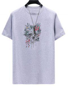 Floral Feather Printed Short Sleeves T-shirt - Gray Cloud 3xl