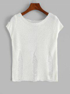 Ripped Knit Top - Beige L