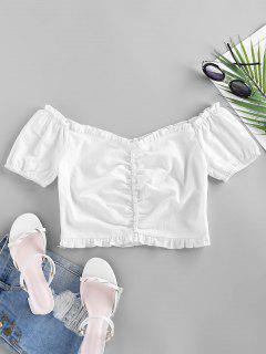 ZAFUL Mock Button Ruffle Crop Blouse - White L