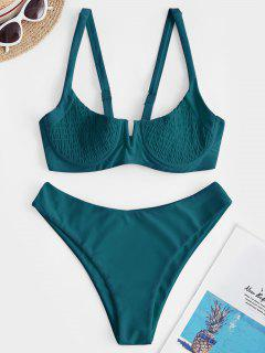 ZAFUL Underwire Shirred Balconette Bikini Set - Peacock Blue M