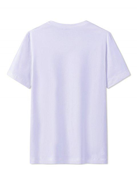 T-Shirt in Cotone con Stampa Etnica - Bianca 3XL Mobile