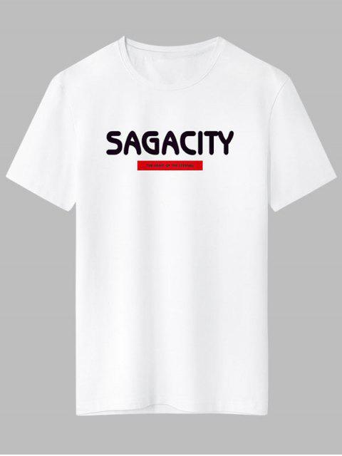 affordable Sagacity Print Basic T-shirt - WHITE XL Mobile
