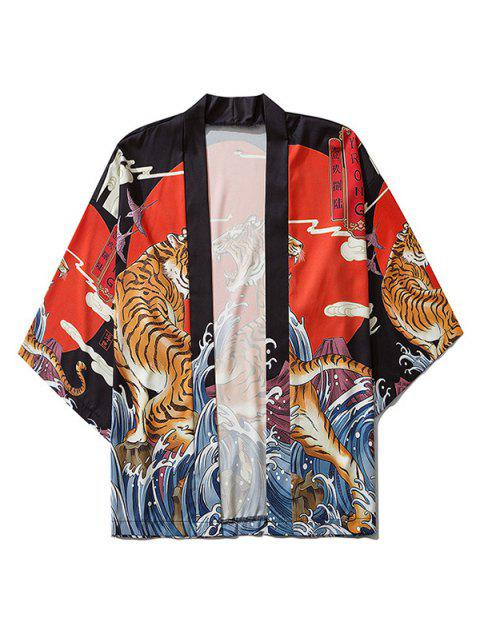 women Tiger Ocean Waves Print Open Front Kimono Cardigan - BLACK L Mobile