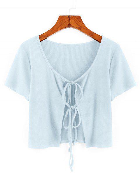 ZAFUL T-shirt Court Côtelé Noué en Avant - Bleu Léger  L Mobile