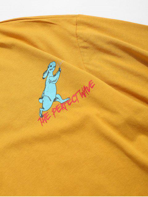 T-Shirt Casuale Grafica di Coniglio - Giallo Ape XL Mobile
