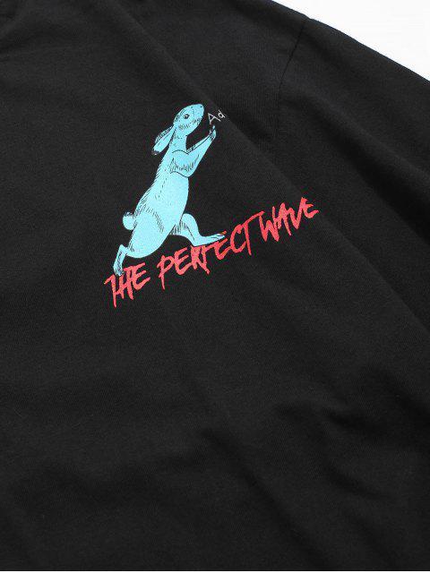 T-Shirt Casuale Grafica di Coniglio - Nero 2XL Mobile