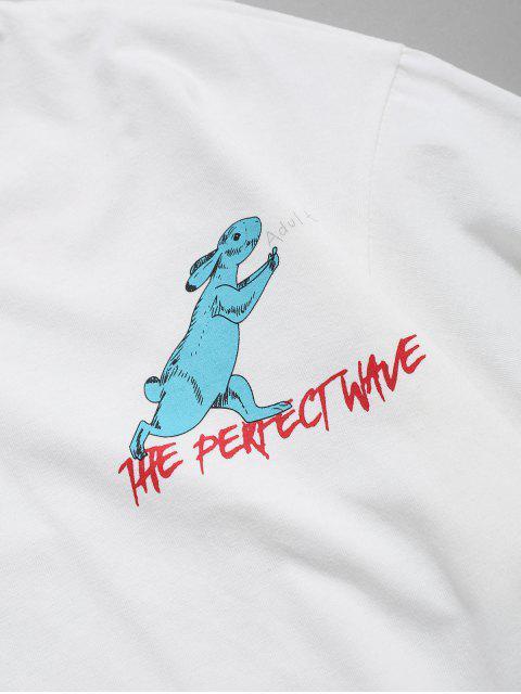 T-Shirt Casuale Grafica di Coniglio - Bianca 2XL Mobile