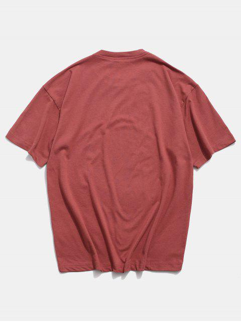 Tier Graffiti Grafik Grundlegendes T-Shirt - Kirschrot M Mobile
