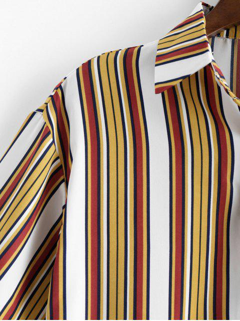online Striped High Low Button Up Shirt - BEE YELLOW 3XL Mobile
