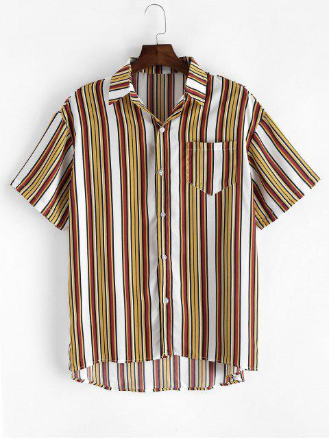 Striped High Low Button Up Shirt - نحلة صفراء 3XL Mobile