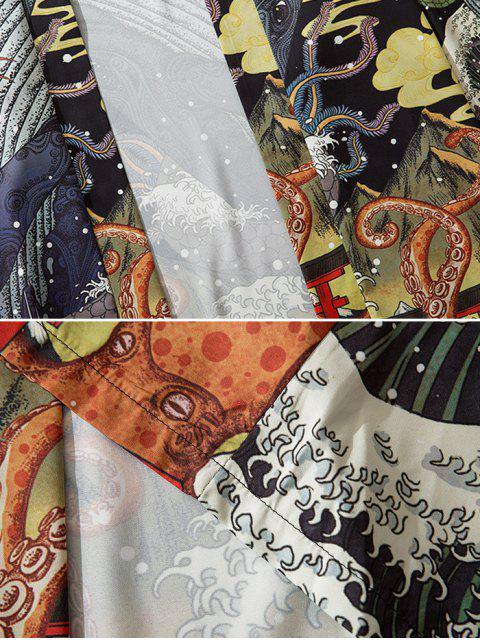 Cardigan di Chimono con Grafica di Serpente Aperto Davanti - Multi Colori XL Mobile