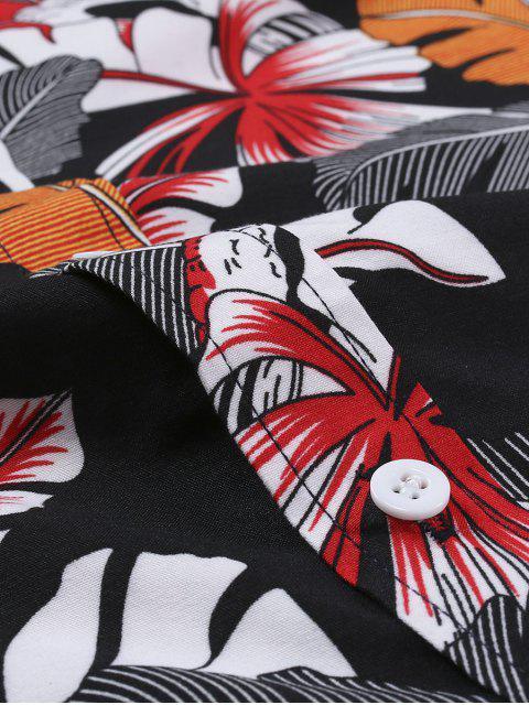 Hawaiian Blattdruck Kurzärmliges Hemd - Multi 2XL Mobile