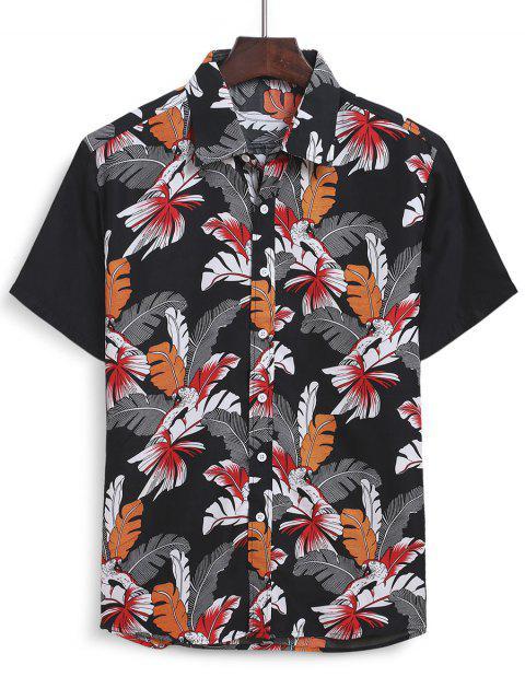 Hawaiian Leaf Print Short Sleeves Shirt - متعدد 2XL Mobile