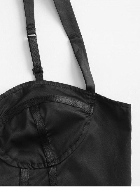 fashion Boning Hook-and-eye Corset Top - BLACK M Mobile