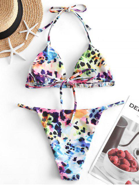 fancy ZAFUL Leopard Snakeskin Print String Bikini - MULTI-D M Mobile