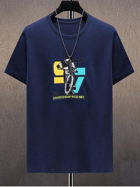 T-shirt de Mangas Curtas Estampado de Letras - Cadetblue 3XL Mobile
