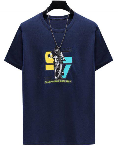 T-Shirt Stampata a Caratteri con Maniche Corte - Cadetblue 3XL Mobile