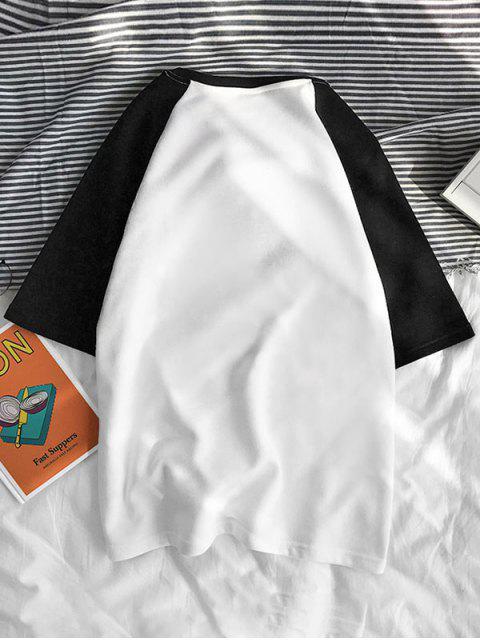 T-Shirt Grafica a Gatto a Contrasto - Nero S Mobile