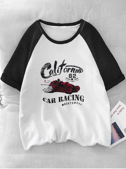 T-Shirt Grafica a Gatto a Contrasto - Nero M Mobile