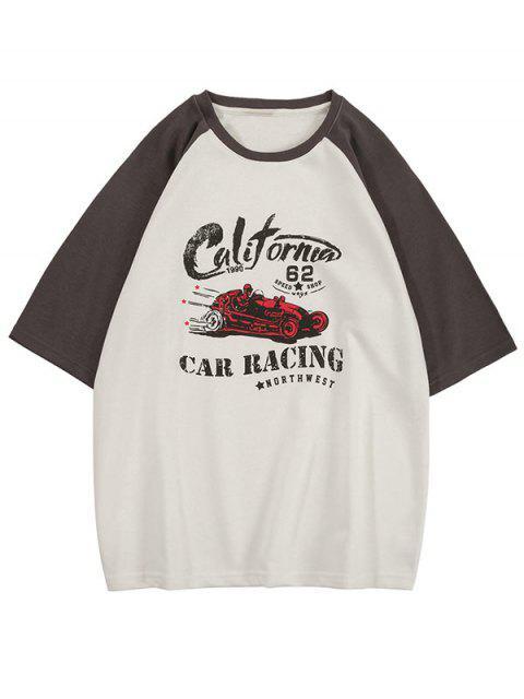 T-Shirt Grafica a Gatto a Contrasto - Grigio S Mobile