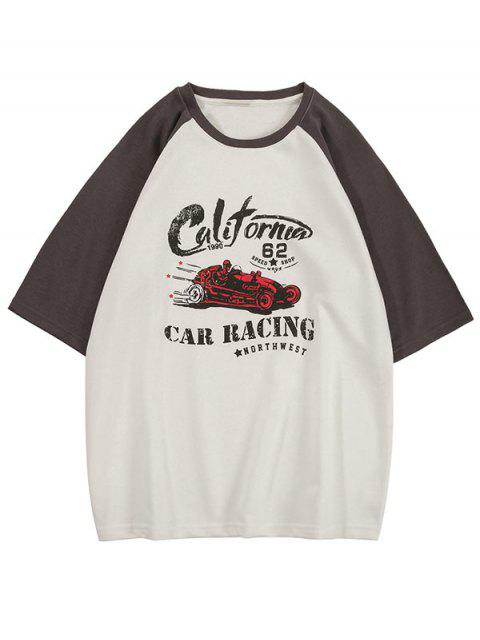 T-Shirt Grafica a Gatto a Contrasto - Grigio 2XL Mobile