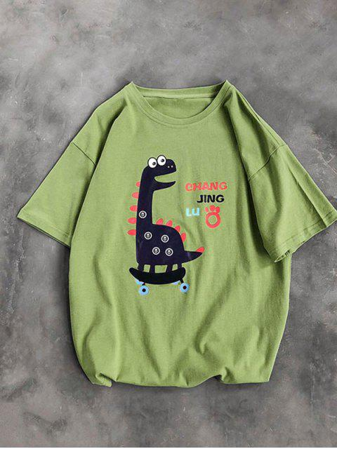 T-Shirt Basic con Grafica di Cartone - Verde M Mobile