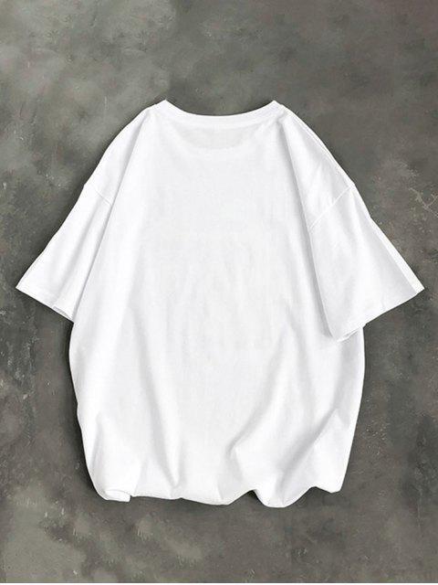 Cartoon Tier Basic T-Shirt - Weiß XL Mobile
