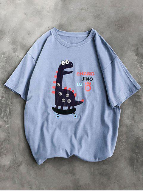 Camisa Básico com Animal de Desenho Animado - Azul 3XL Mobile
