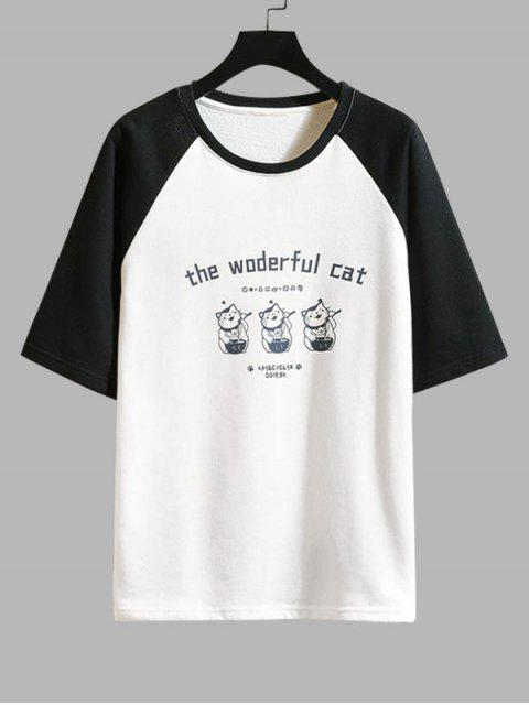 Cat Graphic Print Colorblock T-shirt - أسود S Mobile