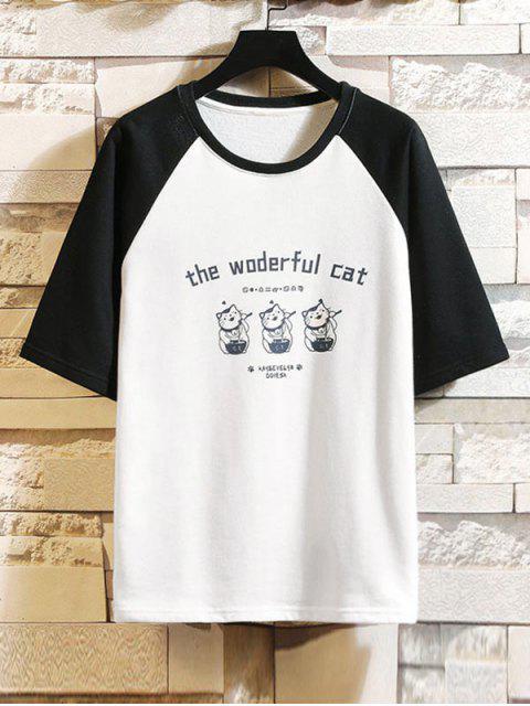 T-shirt de Manga Curta de Impressão Gráfica com Gato - Preto S Mobile